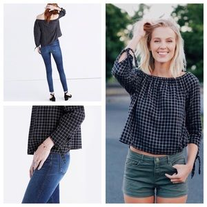 NWT Madewell Plaid Off the Shoulder Top